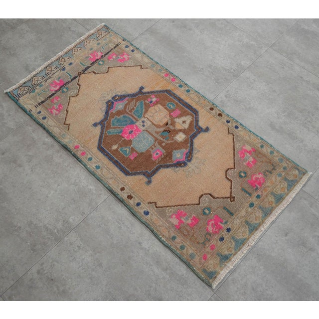 """1970s Hand Made Mini Rugs Front of Kitchen Sink Rug Bath Mat Distressed Rug 1'10"""" X 3'9"""" For Sale - Image 5 of 6"""