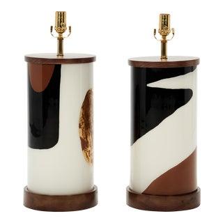 Paris Now Eglomse Lamps by Liz Marsh - a Pair For Sale