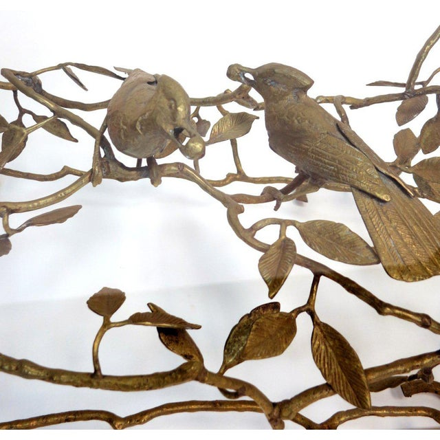 Italian Italian Brass Tree & Bird Cocktail Table For Sale - Image 3 of 5