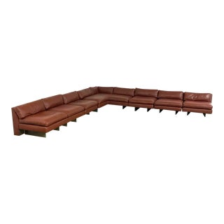 1970s Mid-Century Modern Vladimir Kagan Brown Leather Sectional For Sale
