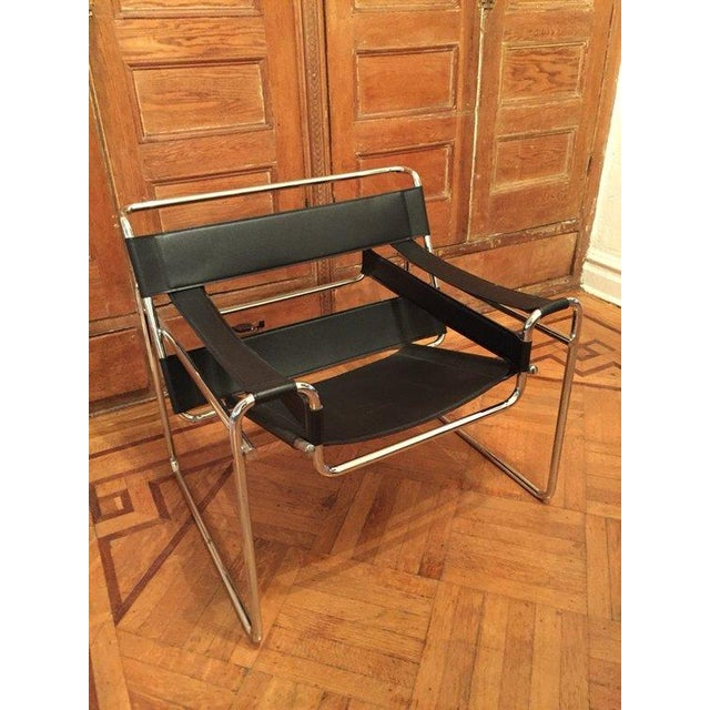 Wassily Vintage Black Leather & Chrome Chair - Image 3 of 4