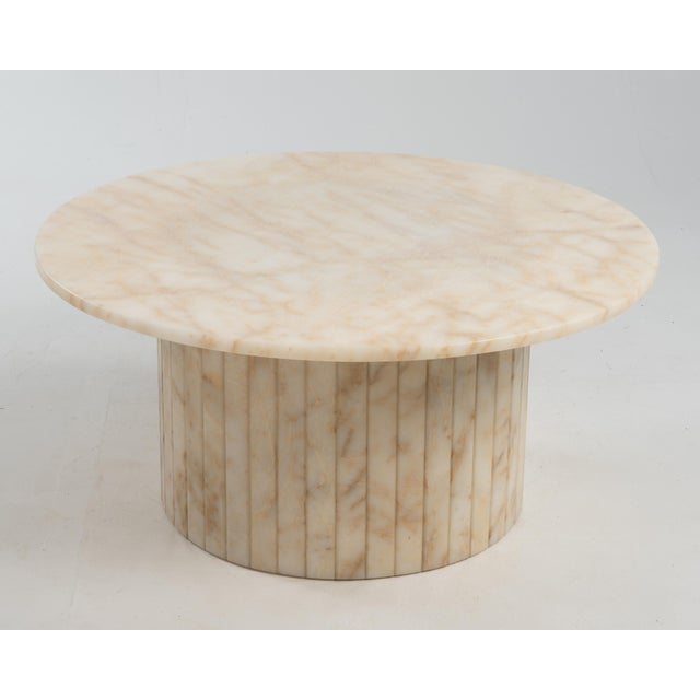 Hollywood Regency Round Alabaster Coffee Table on a Drum Base For Sale - Image 4 of 13
