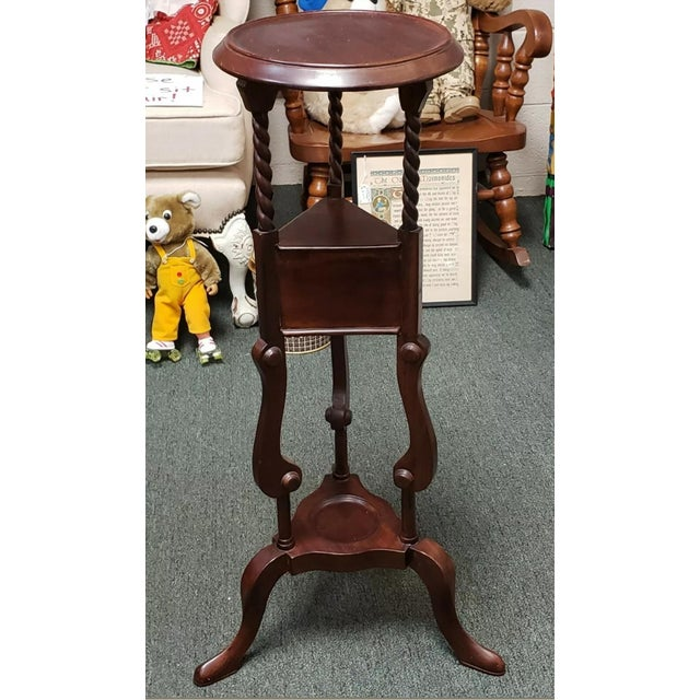 """Up for sale is a Circa 1880 English Victorian Queen Anne Style Mahogany Wash Stand! It measures 33 1/2"""" tall, 9 3/8"""" in..."""