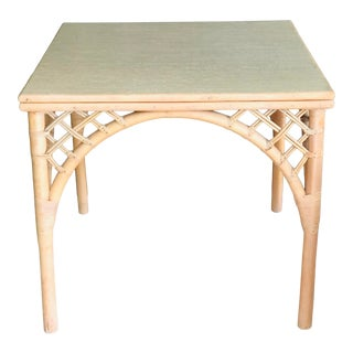 Vintage Boho Chic Square Bamboo/Rattan Dining Table For Sale