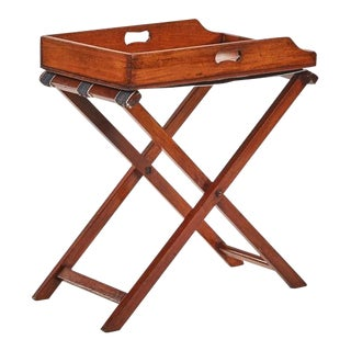 Late 19th Century French Mahogany Butler's Tray on Folding Stretcher For Sale