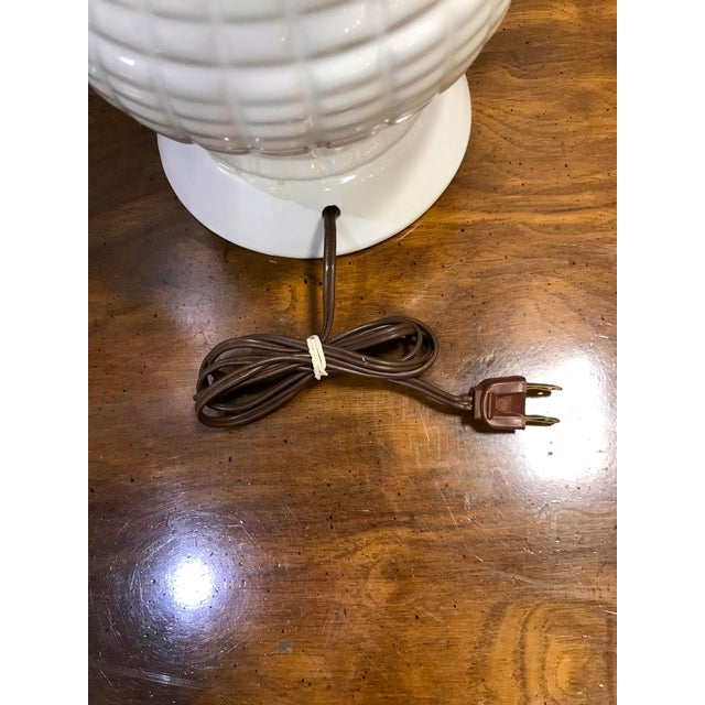 Mid 20th Century Vintage Mid Century Modern White Ceramic Table Lamp With Wood Neck For Sale - Image 5 of 7