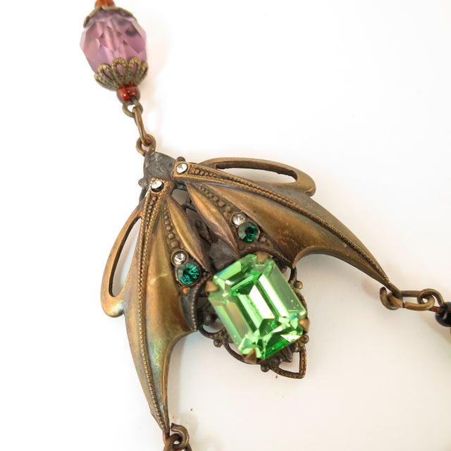 Massive Czech Art Deco Egyptian Revival Painted Glass & Crystal Necklace 1920s For Sale - Image 9 of 12