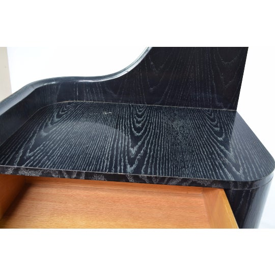 Black Cerused White Oak Bedside Tables - Pair - Image 5 of 5