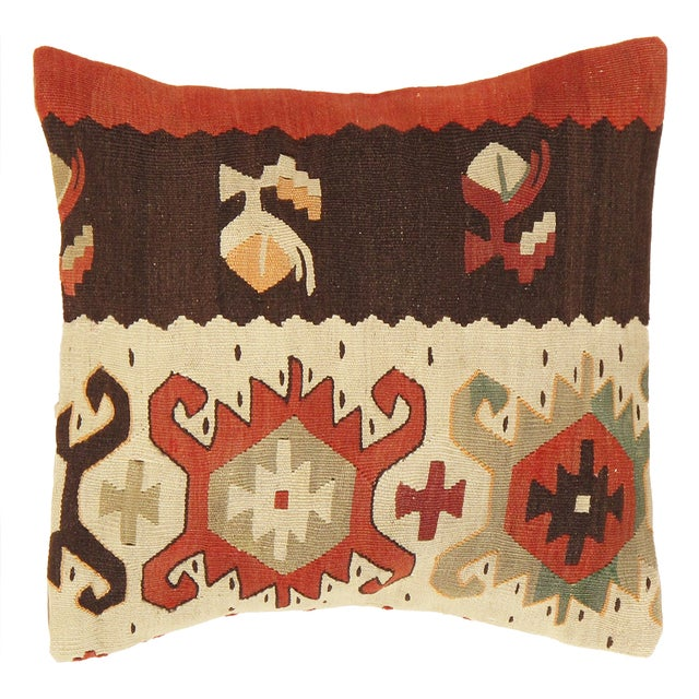 Pasargad Vintage Brown And Cream Kilim Pillow - Image 1 of 2