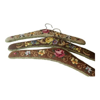 1960s Wooden Clothes Hanger With Tapestry Cover and Brocade Edging, Gobelin - Set of 3 For Sale