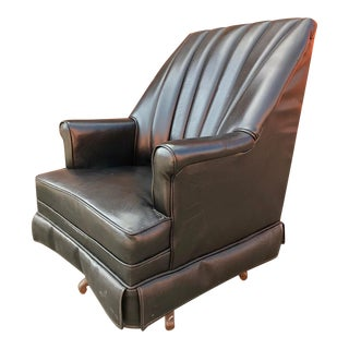 Mid-Century Modern Vinyl Swivel Lounge Chair