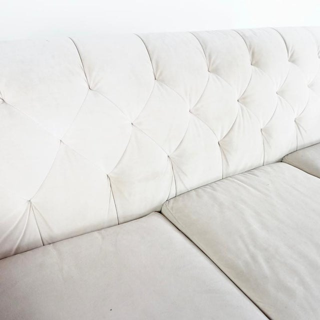 Contemporary White Upholstered Button Tufted Sofa For Sale In San Francisco - Image 6 of 7