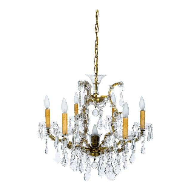 1920s Maria Theresa Style Crystal Seven-Light Chandelier For Sale