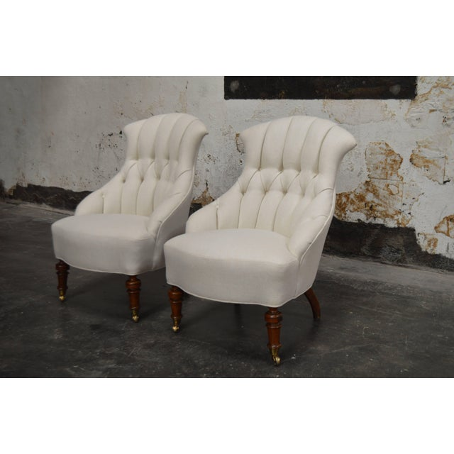 "Pair of curvaceous vintage Swedish ""Emma"" slipper chairs. Newly tufted and upholstered in luxurious off-white heavy weave..."