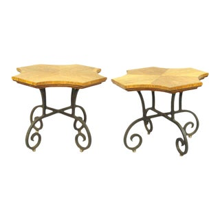 Pair of Wrought Iron Base Spanish Villa Tables by Heritage Henredon For Sale