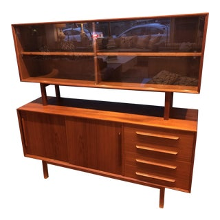 1970s Scandinavian Modern Ib Kofod Larsen Faarup Teak Credenza and Hutch For Sale