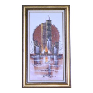 1970s Vintage Kern Oropeza Style Brutalist / Spaceage Marina Towers Painting For Sale