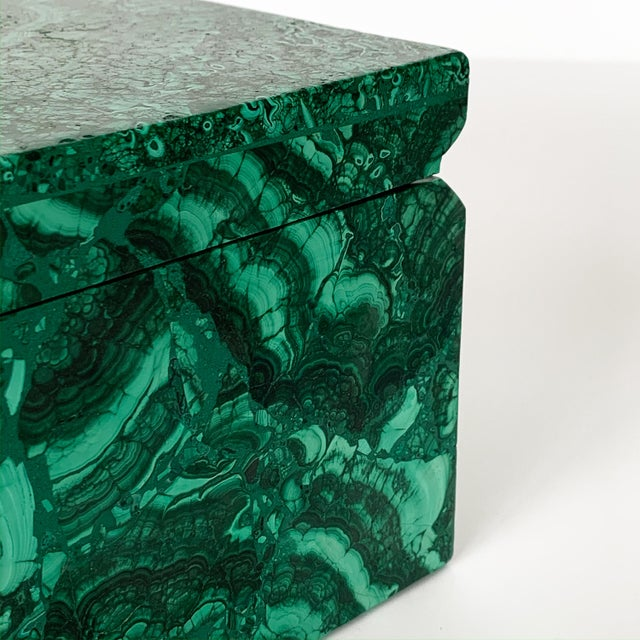 Large Modern Malachite Stone Jewelry Box For Sale - Image 9 of 13