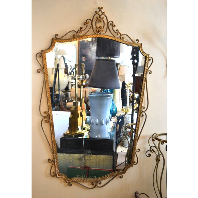Art Deco Style Italian Gilt Wrought Iron Wall Mirror by Pier Luigi Colli For Sale - Image 12 of 12