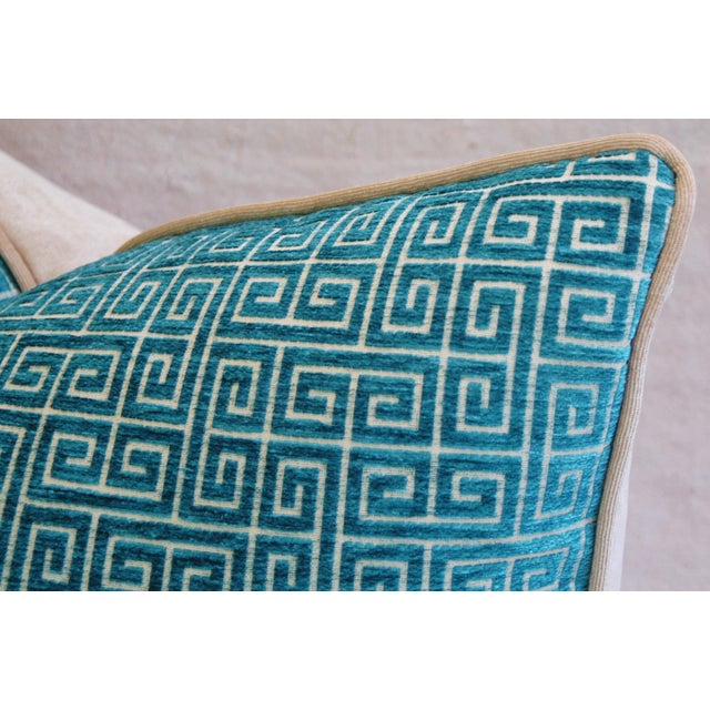 """Turquoise Designer Turquoise Greek Key Velvet Feather/Down Pillows 24"""" X 18"""" - Pair For Sale - Image 8 of 8"""