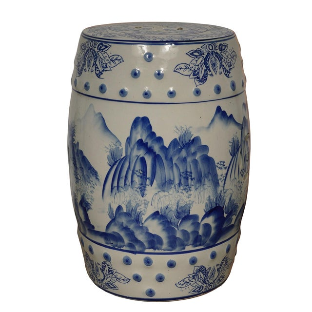 Blue Mid 20th Century Vintage Chinese Blue and White Ceramic Stool For Sale - Image 8 of 8