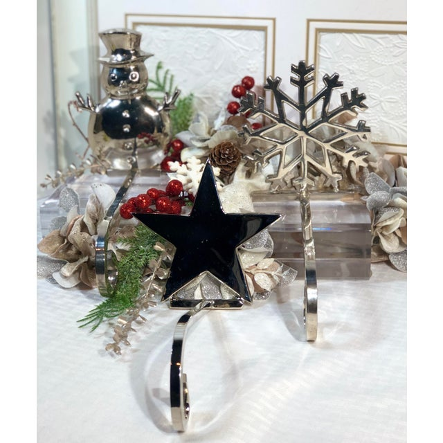 Traditional Vintage Stocking Holders Silver Christmas Snowman, Star, Snowflake Hooks - Set of 3 For Sale - Image 3 of 12