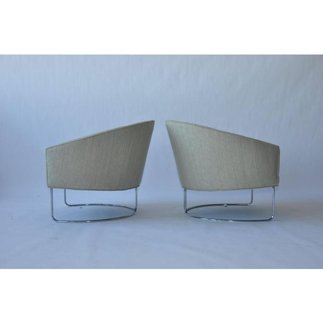 Mid-Century Modern 1960s Chrome Base Curved Lounge Chairs For Sale - Image 3 of 6