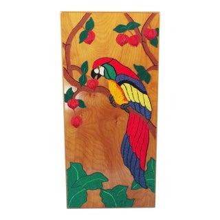 Felted Wool Parrot Fiber Art on Panel