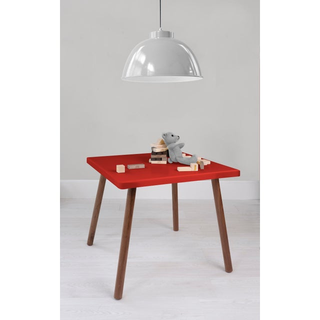 """Contemporary Tippy Toe Large Square 30"""" Kids Table in Walnut With Red Finish Accent For Sale - Image 3 of 4"""