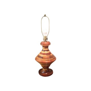Vintage Large Multi Wood Layered Lamp For Sale