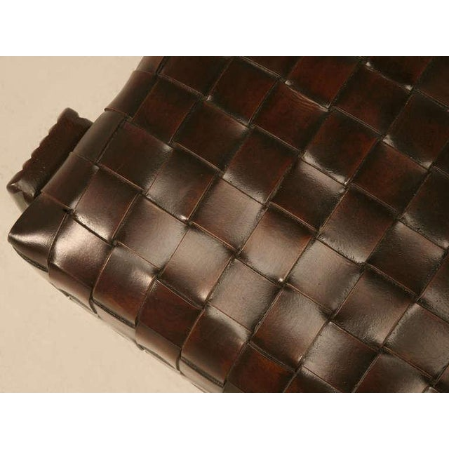 Chic and Unique Vintage French Handwoven Leather Ottoman For Sale - Image 5 of 10