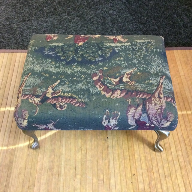 Vintage Foot Stool With Metal Legs and English Hunting Scene Equestrian Style Upholstery Fabric For Sale - Image 4 of 9