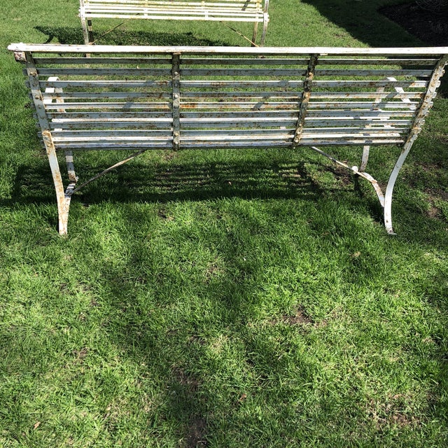 French 1920's White Garden Benches - a Pair For Sale - Image 10 of 12