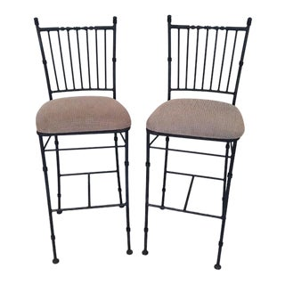Vintage Iron Bar Stools With Upholstered Seat - a Pair For Sale
