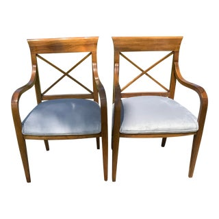 Mid Century Style Walnut Chairs - a Pair For Sale