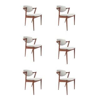 Vintage Danish Kai Kristiansen Model #42 Teak Dining Chairs - Set of 6