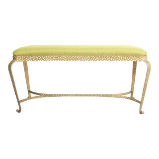 Pier Luigi Colli Pair of Gold Iron Benches Green Fabric, Italy, 1950 For Sale