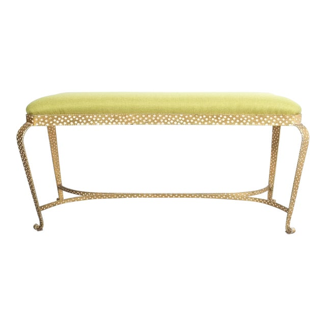 Pier Luigi Colli Pair of Gold Iron Benches Green Fabric, Italy, 1950