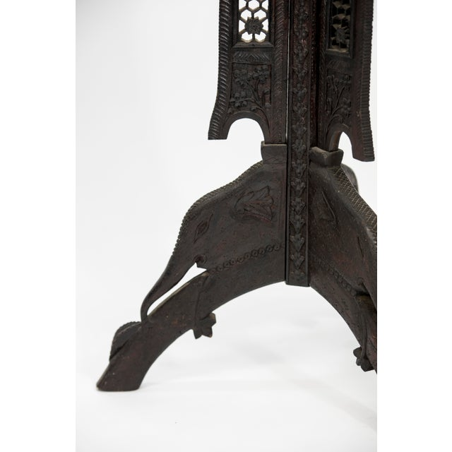 Wood Anglo Indian Highly Carved Ebonized Plant Stand Antique For Sale - Image 7 of 8