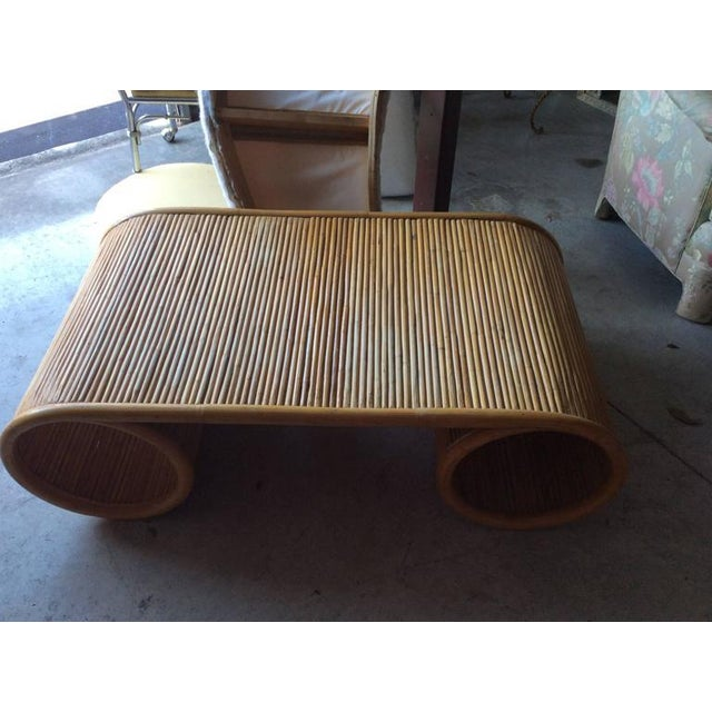 Pencil Reed Rattan Bamboo Vintage Scroll Coffee Cocktail Table - Image 2 of 7