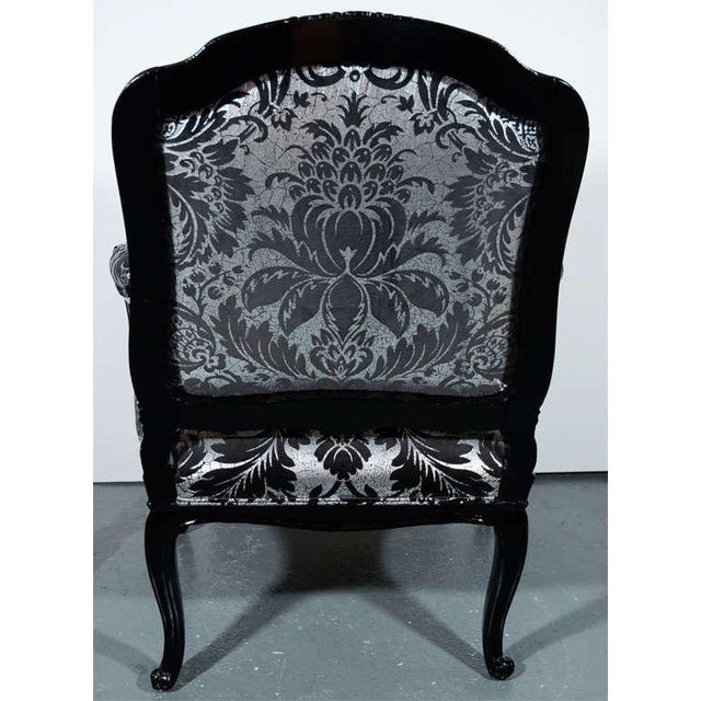 Lacquer Hollywood Regency Bergere Chair in Embossed Velvet & Black Lacquer For Sale - Image 7 of 10