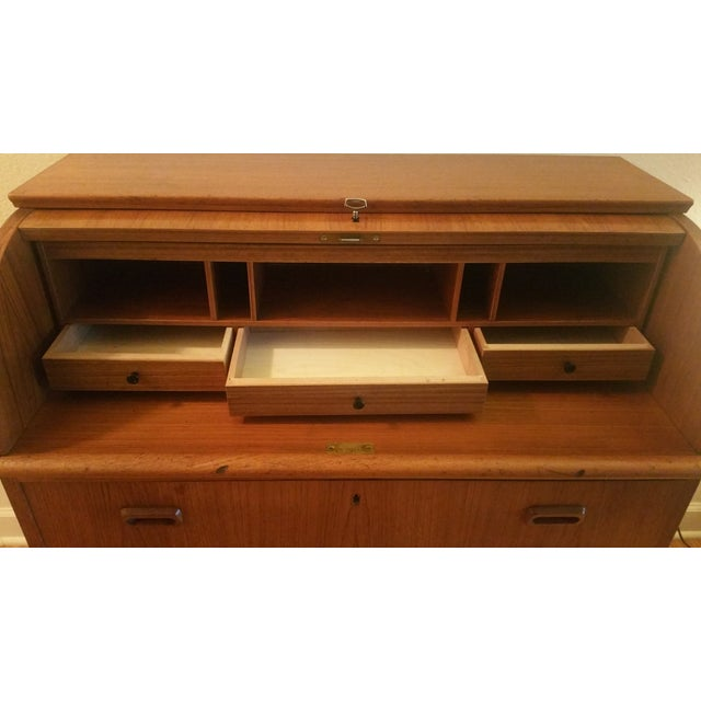 Danish Mid-Century Modern Roll Top Secretary Desk - Image 7 of 9