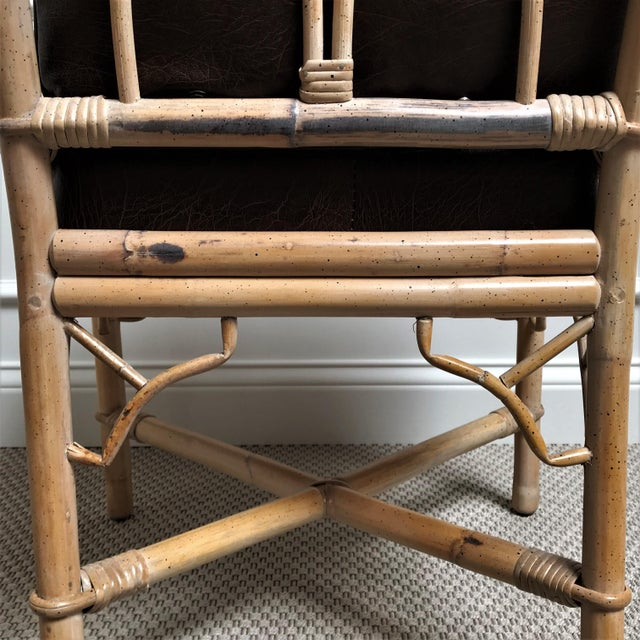 1960s Chinoiserie Rattan Dining Table & Chairs - 5 Pieces For Sale - Image 12 of 13