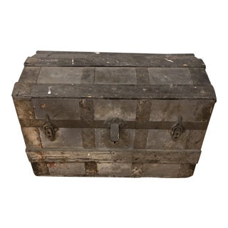 19th Century Antique Wood Trunk For Sale