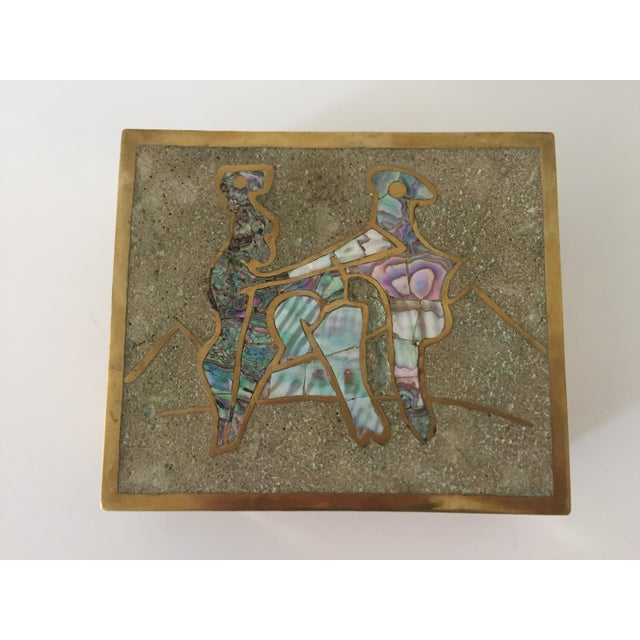 Mid-Century Modern Vintage Taxco Mexican Brass Inlaid Abalone and Rosewood Box For Sale - Image 3 of 6