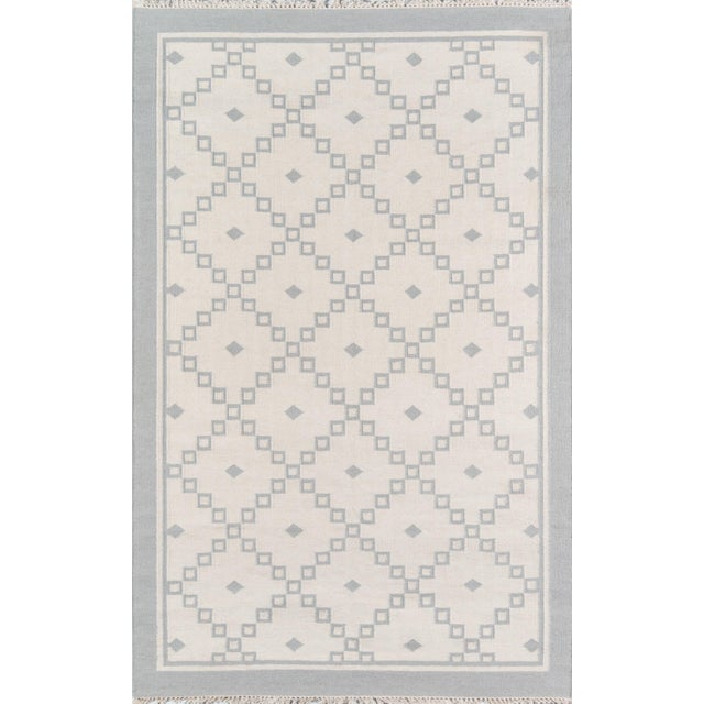 """2010s Erin Gates Thompson Langley Grey Hand Woven Wool Area Rug 3'6"""" X 5'6"""" For Sale - Image 5 of 5"""