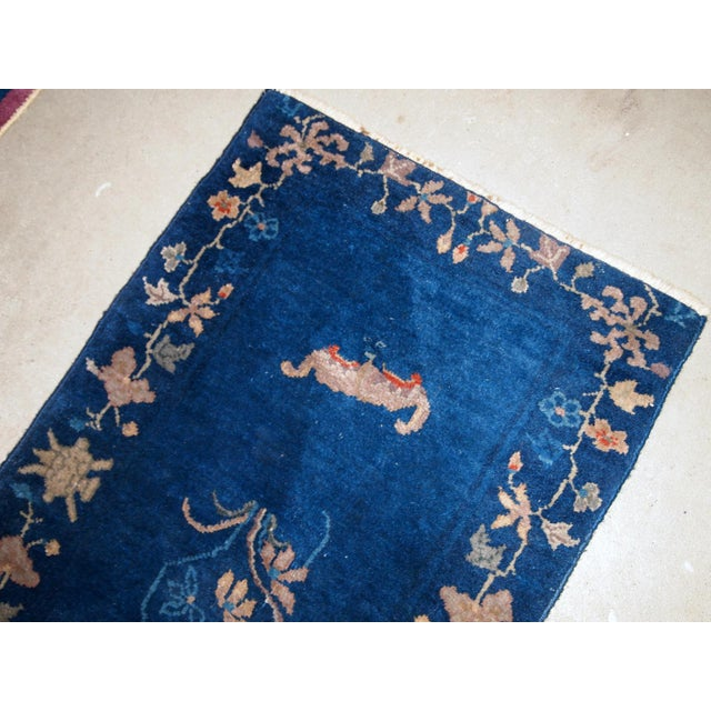 1920s, Handmade Antique Art Deco Chinese Rug 2.1' X 4.1' For Sale - Image 4 of 7