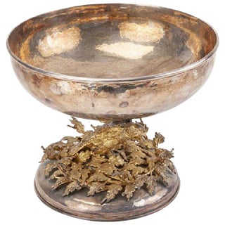 Franco Lapini Silver and Gold-Plated Centrepiece Bowl For Sale