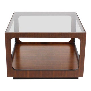 20th Century Danish Modern Walnut Base and Glass-Top Coffee or Side Table For Sale