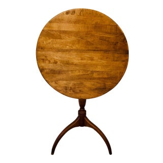 Round Tilt Top Table Maple Shaker Candle Stand For Sale